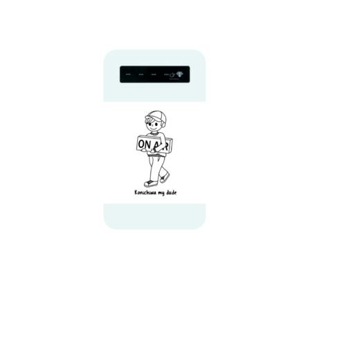 「Konichiwa my dude」イラストデザインのオリジナルモバイルバッテリー