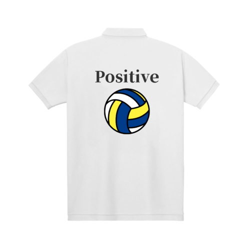 「Positive」文字とイラストデザインのオリジナルポロシャツ