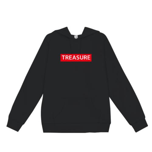 「TREASURE」ボックスロゴデザインのオリジナルパーカー