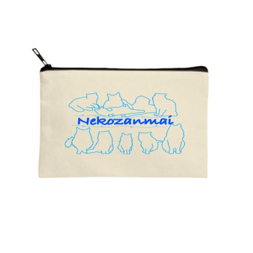 「Nekozanmai」とイラストのオリジナルポーチ