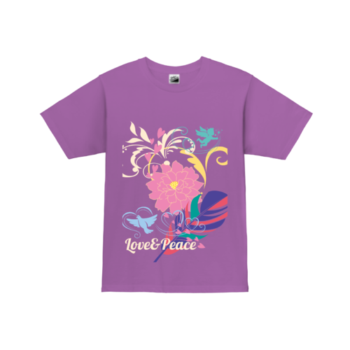 LOVE&PEACEの文字とカラフルなスタンプでデザインされたオリジナルTシャツ