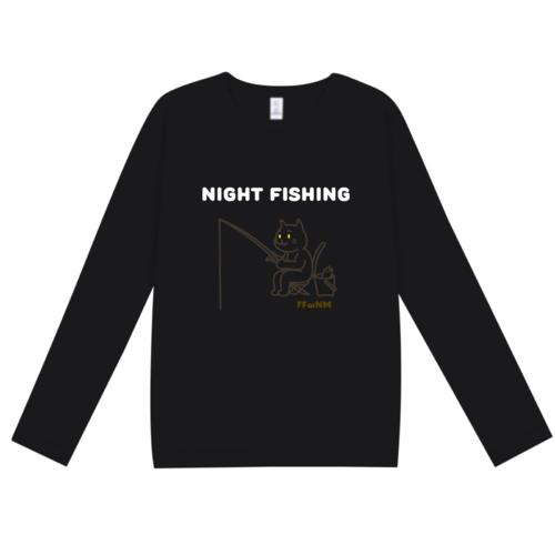 「NIGHT FISHING」文字とイラストデザインのオリジナルTシャツ