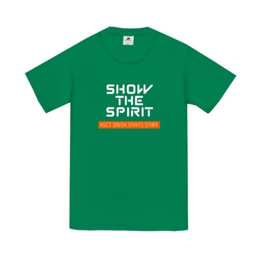 「SHOW THE SPIRIT」文字デザインのオリジナルスタッフTシャツ
