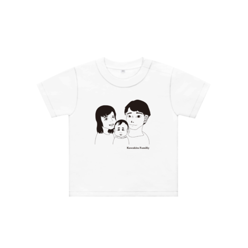 家族の似顔絵デザインのオリジナルTシャツ
