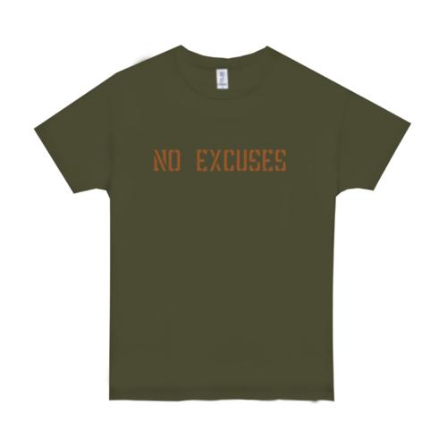 「NO EXCUSES」文字デザインのオリジナルTシャツ