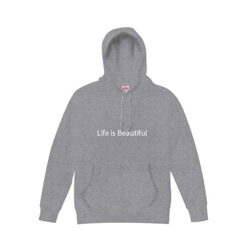 「Life is Beautiful」デザインのオリジナルパーカー
