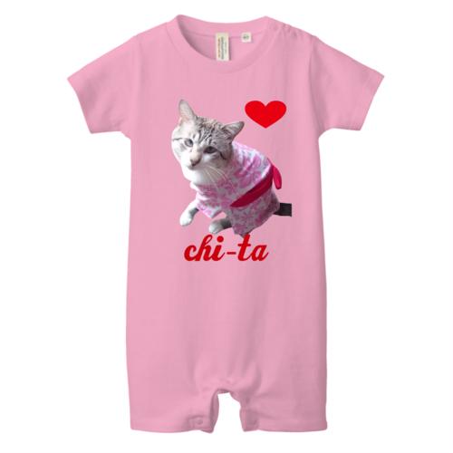 愛猫の写真を切り抜いてデザインしたオリジナルベイビーロンパース