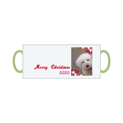 愛犬の写真とクリスマスデザインのオリジナルマグカップ