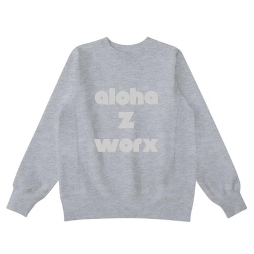「aloha Z worx」文字デザインのオリジナルスウェット