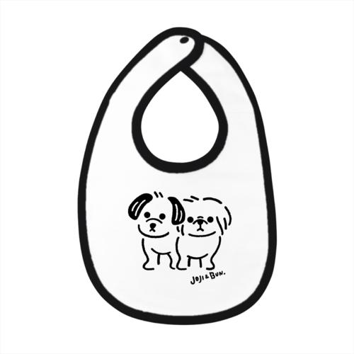 2匹の愛犬のイラストをプリントしたオリジナルベイビービブ