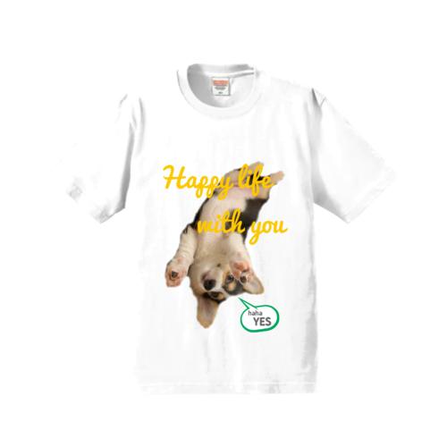 愛犬の写真を切り取ってデザインしたオリジナルTシャツ