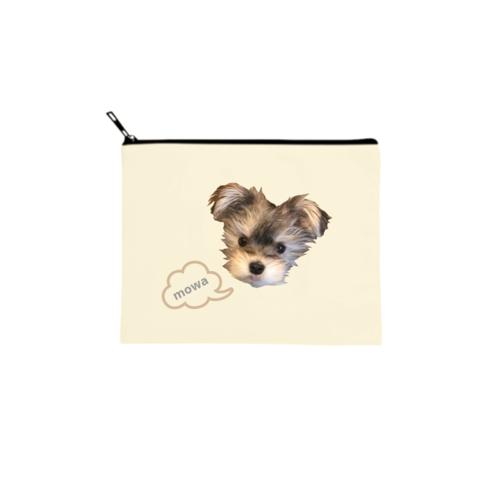 愛犬の写真を切り抜いてデザインしたオリジナルポーチ