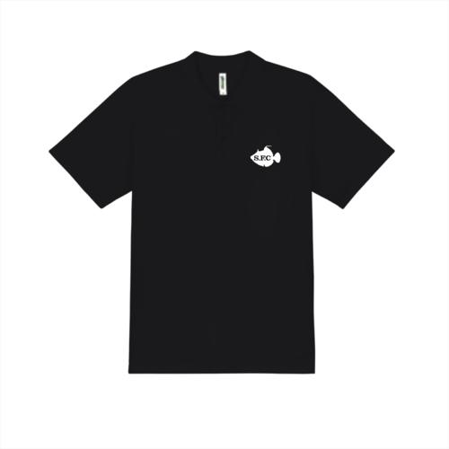 「S.F.C」魚のシルエットと文字デザインのオリジナルポロシャツ