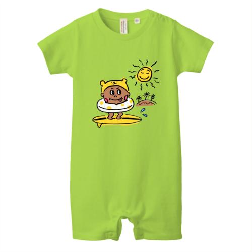 ビーチでサーフィンする子供のオリジナルTシャツプリント