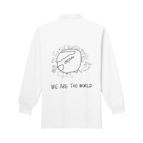 「WE ARE THE WORLD」と干支のイラストデザインのオリジナルポロシャツ
