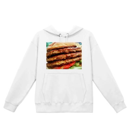 ハンバーガーの写真をプリントしたオリジナルパーカー