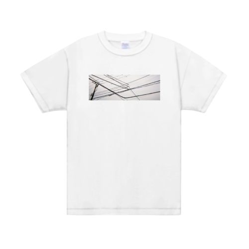 電線の写真をプリントしたオリジナルTシャツ