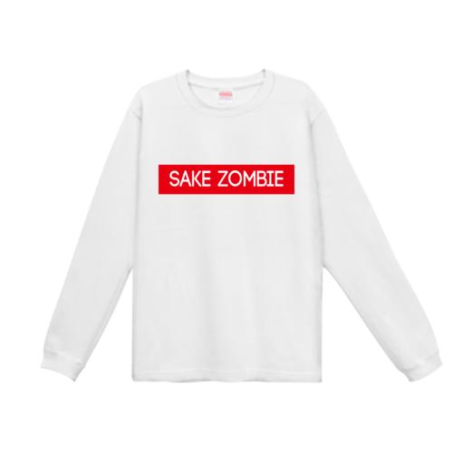 「SAKE ZOMBIE」ボックスロゴデザインのオリジナルTシャツ